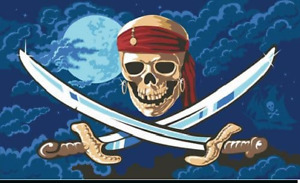 Pirates of the Caribbean Flag with Skull Design Pirate 5ft x 3ft - 2 eyelets