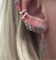 Set of 6 Women Elegant Ear Stud Fake Earring Fashion Jewelry Owl Silver Sleeper