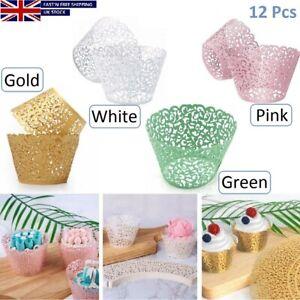 12PC Lace Laser Cut Cupcake Wrapper Wedding Party Baking Filigree Wraps Cases UK