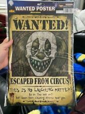 WANTED POSTER - CLOWN WALL & WINDOW Halloween Party House Decoration New!!!