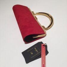 BALMAIN x H&M rosso in pelle scamosciata Handbag Pochette Borsetta maniglia rimovibile