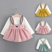 Toddler Kids Baby Girls Long Sleeve Rabbit Ears Clothes Party Princess Dress T5