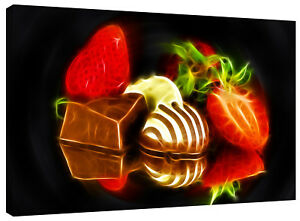 Abstract Strawberries and Chocolate Heaven Canvas Wall Art Picture Print