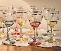 Vintage Etched Colored Wine Glasses Cordial Set of 9 Gold Trim