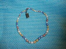 """HONORA PEARL 18"""" pastel barrel ringed pearl necklace sterling clasp? w/pouch box"""