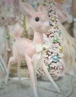 Shabby Retro Chic Vintage Pink Pastel Xmas Bambi Reindeer Table Decoration New