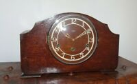 Antique Smiths Enfield Oak Mantel Clock with Westminster Chime Key & Pendulum