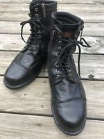 Harley Davidson Mens BlackZip Up Leather Boots Size 10.5