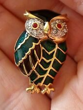 Vintage Rhinestone Diamante & Enamel Gold Plated Owl Brooch Green & Red