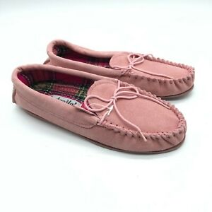 Lodge Mok Womens Moccasin Slippers Suede Bow Slip On Pink US Size 7