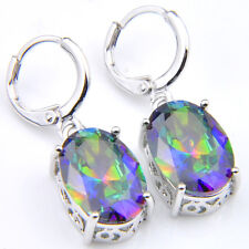 Engagement Jewelry Bluish Rainbow Mystic Fire Topaz Silver Dangle Earrings