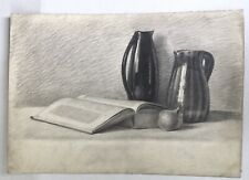 Fine Original Art Drawing Sketch Realism Pencil Vintage Kitchen Decor Still Life