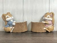 Vintage Burwood Boy and Girl Bunny Storage Plaques ~ Figural Rabbit Wall Planter