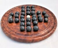 Antique Victorian Burr Walnut Solitaire Game Board with Stone Marbles  19th C