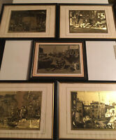 COLLECTION OF 5 FRAMED LIONEL BARRYMORE GOLD FOIL ETCHINGS ART 4- 9x12 1-8x10