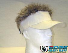 Crazy fun hairy hats / visors fake hair White visor Blond hair