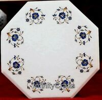 12 Inches Marble Coffee Table Top Inlay Side Table with Lapis Lazuli Stone Art