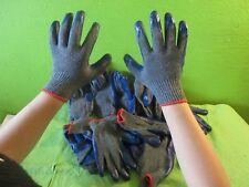 12 Pairs PREMIUM Blue Latex Rubber Palm Coat Work Safety Gloves