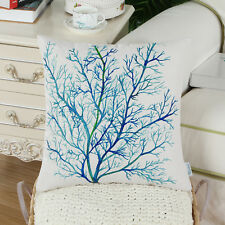 CaliTime Pillow Cover Aquarelle Painting Print Sea Coral Tree Blue Teal 45x45cm