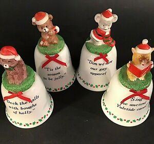CHRISTMAS BELLS DECK THE HALLS JSNY VINTAGE MOUSE PUPPY CAT BEAR PORCELAIN