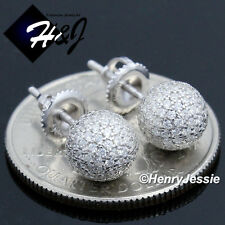 MEN WOMEN 925 STERLING SILVER ROUND 7MM ICY DIAMOND BLING BALL STUD EARRING*E47