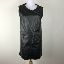 Max Studio Dress S Faux Leather Shift Zipper Accents Black Sleeveless Stitching