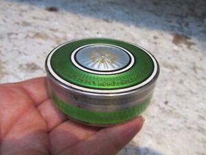Fine Antique Silver guilloche Green Enamel French Table Snuff Box Trinket Box