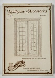 Vintage Houseworks Double French Doors, #6011, Wooden, New Old Stock, 1979