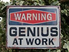 Fair Trade Hand Made Genius At Work Metal Art Office Wall Hanging Plaque Sign