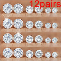 12Pairs/Set Women Crystal Zircon Stainless Steel Ear Stud Earrings Sets Jewelry