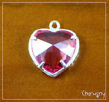 Pink Crystal Heart charm for necklace ~costume jewelry bead silver-plated rose