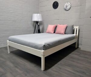 High quality, strong, solid DOUBLE wooden bed white 4FT6, the best on ebay!Berno