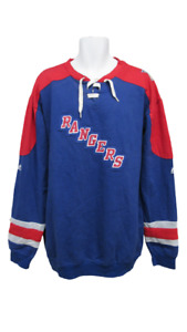 New York Rangers Mens Sizes XL-3XL-4XL-Tall Blue Majestic Crew Sweatshirt