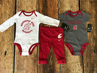 NIKE WASHINGTON STATE COUGERS 3 PIECE PANTS BABY BODYSUITS SIZE 3 - 6 MONTHS $36