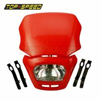 Red Dirt Bike Enduro Dual Light Headlight Head Lamp Fairing For Honda Off Road