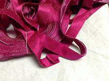 "10 Yards Fuchsia 3/4"" HANK Vintage Silk Rayon Satin Back Velvet Ribbon"