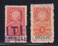 Argentina, Santa Fé, Forbin 2A/3A used 1900 Civil Registration Control Fiscals