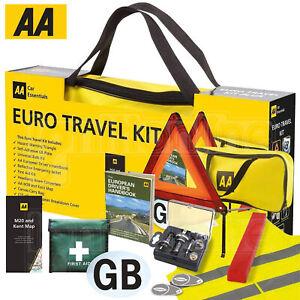 AA European Travel Kit Car Driving Emergency Warning Triangle Legal EU Abroad