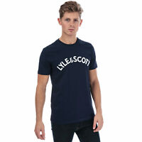 Mens Lyle And Scott Logo T-Shirt In Navy White- Crew Neck