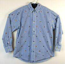 Tommy Hilfiger Mens Shirt Long Sleeve Button Down Blue Nautical Size Medium EUC