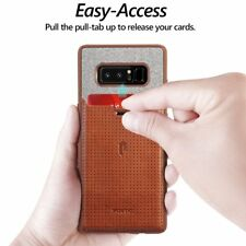 For Samsung Galaxy Note 8 Poetic Nubuck [Pull-Tab]Credit Card ID Slot Case Brown