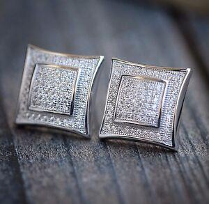 Mens 14k White Gold Finish RealSilver Square Kite Lab Sim Diamond Earrings Studs