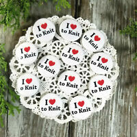 """12  Love to Knit Pins 1 1/4"""" Pinback Buttons Party Favor Gift New USA Knitting"""
