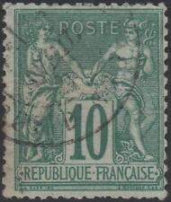"FRANCE STAMP TIMBRE N° 76 "" SAGE 10c VERT TYPE II "" OBLITERE TB A VOIR  K033"