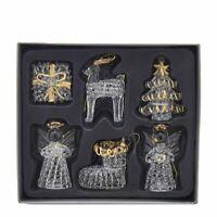 "Glass Crystal Angel Tree Reindeer Gift Christmas 2.5"" Ornament Set 6 Kurt Adler"