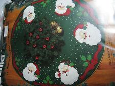 Christmas BUCILLA Holiday Felt Applique TREE SKIRT Kit,JOLLY SANTA FACES,#83212