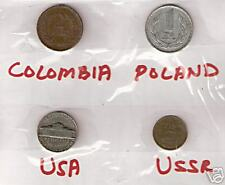 4 DIFFERENT COUNTRIES COINS LOT WITH COLOMBIA # M 17