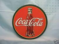 Coca Cola Coke Tin Metal Round Advertising Sign Kitchen Glass Bottle