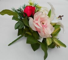 ARTIFICIAL FLOWER SELECTION POSY LILLIES ROSES AND GREENERY PINKS
