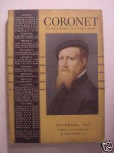 CORONET November 1937 MARY SMALL ELIZABETH BIBESCO THEODORE ROSZAK +++